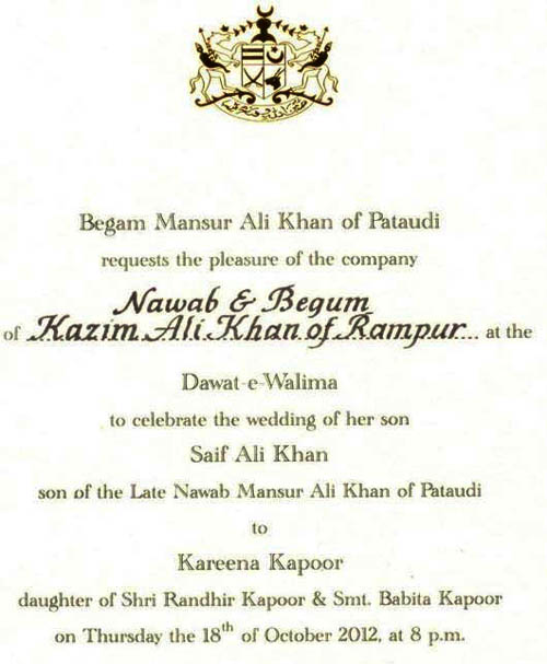 Wedding ivitation card for Saif Kareena wedding