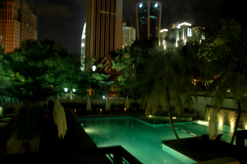 view of petronas towers from hotel room
