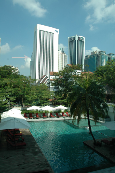 view of petronas tower from hotel room